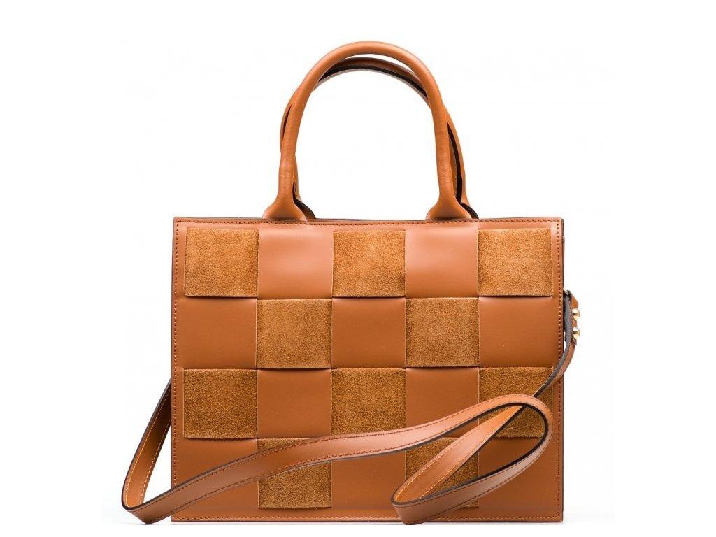 Kožená kabelka Fiorina koňakově hnědá