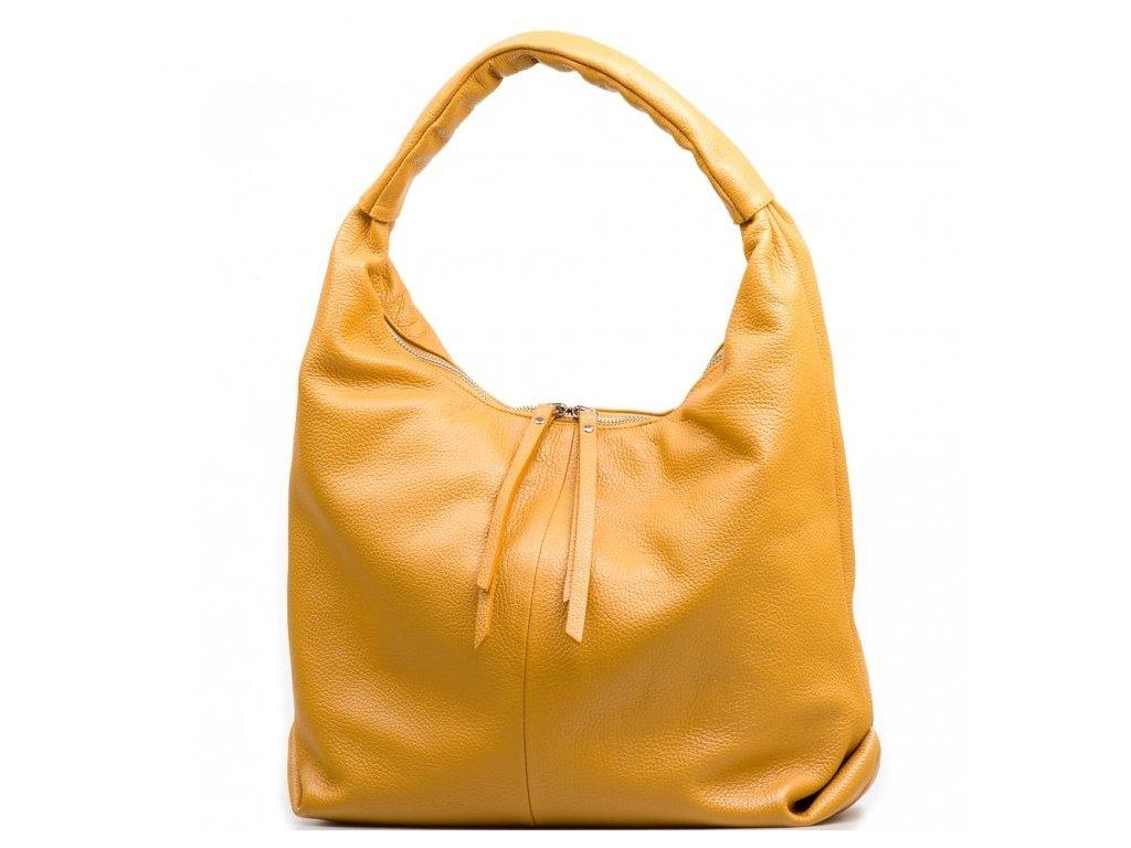 Kožená kabelka Julianna hořčicově žlutá
