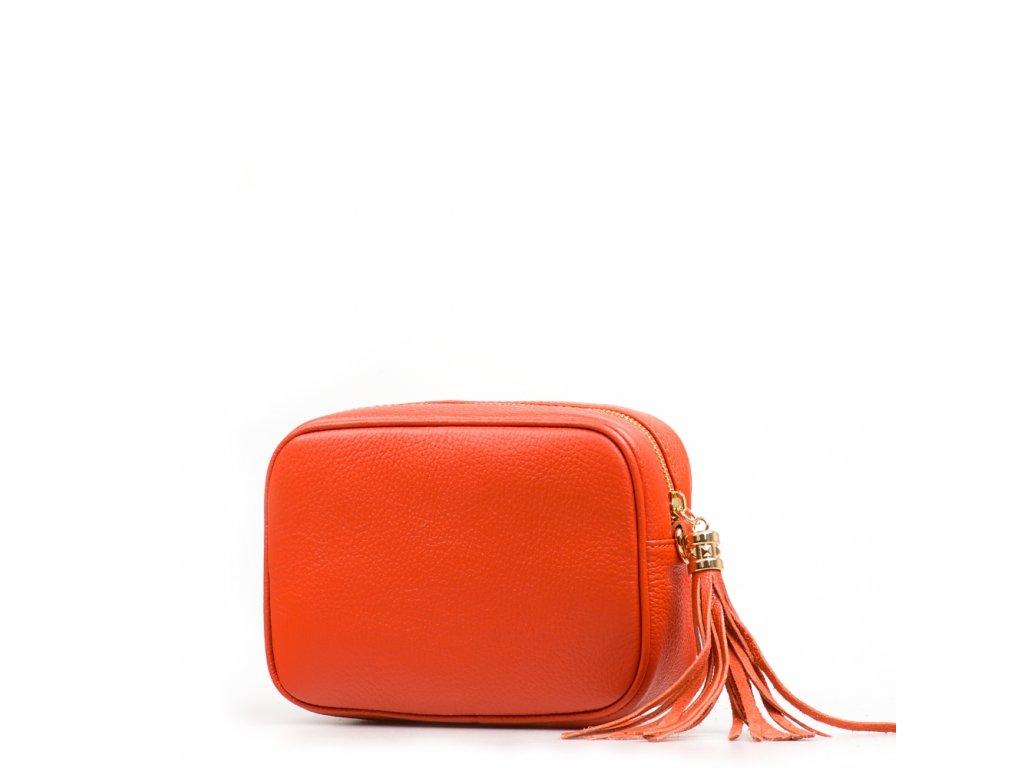 Kožená crossbody kabelka Cameron oranžová