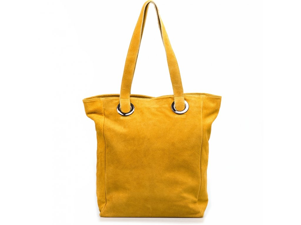 Kožená maxi kabelka Aurelia hořčicově žlutá