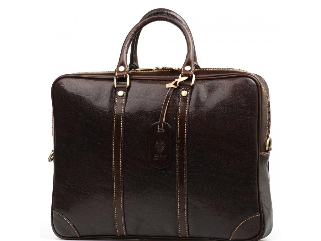 Kožená pracovní taška Gavin tmavě hnědá