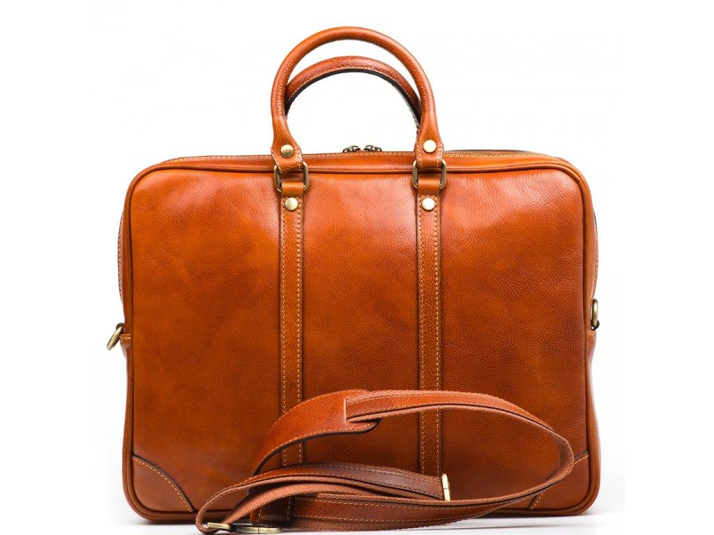 Kožená pracovní taška Gavin koňakově hnědá