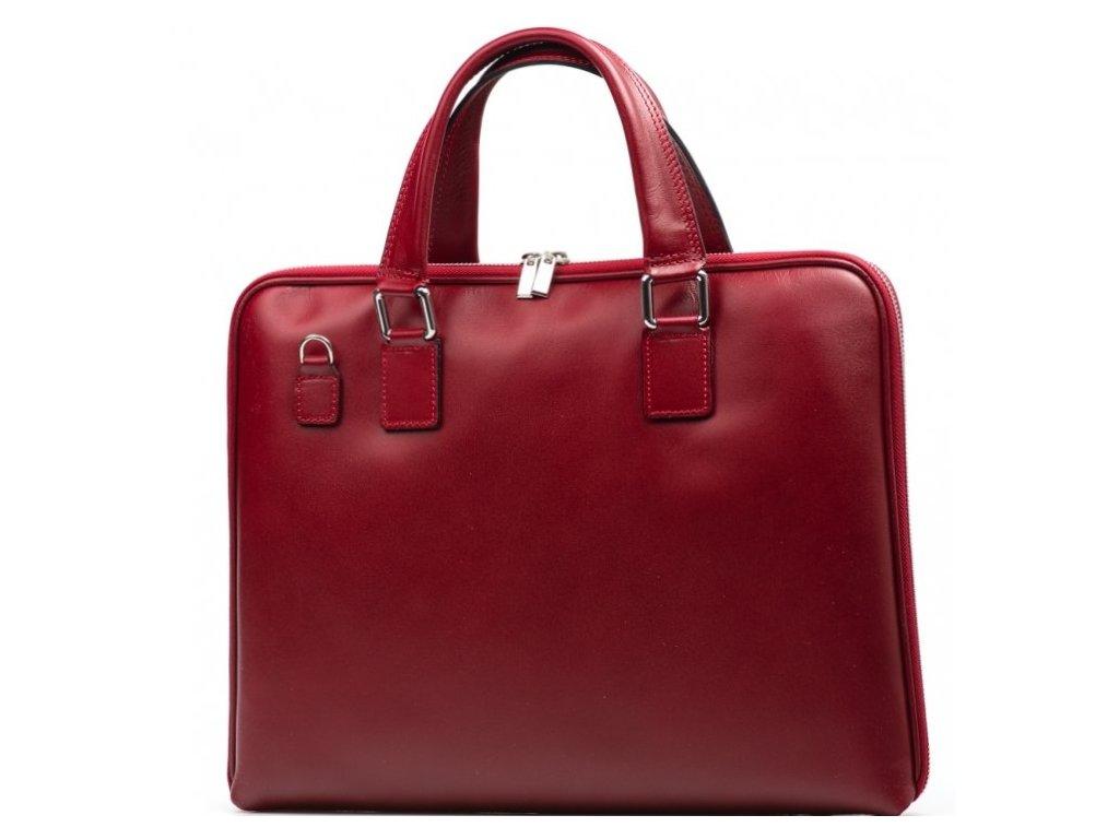 Kožená taška na notebook Esme červená