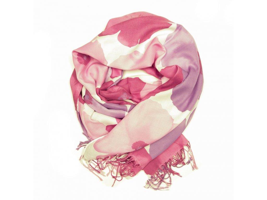 Dámský pašmínový šál André růžovo-fialový