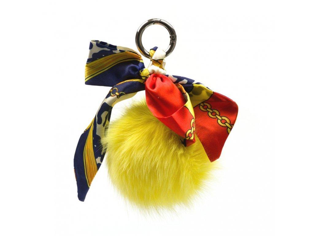 Kožešinový přívěsek na kabelku žlutý