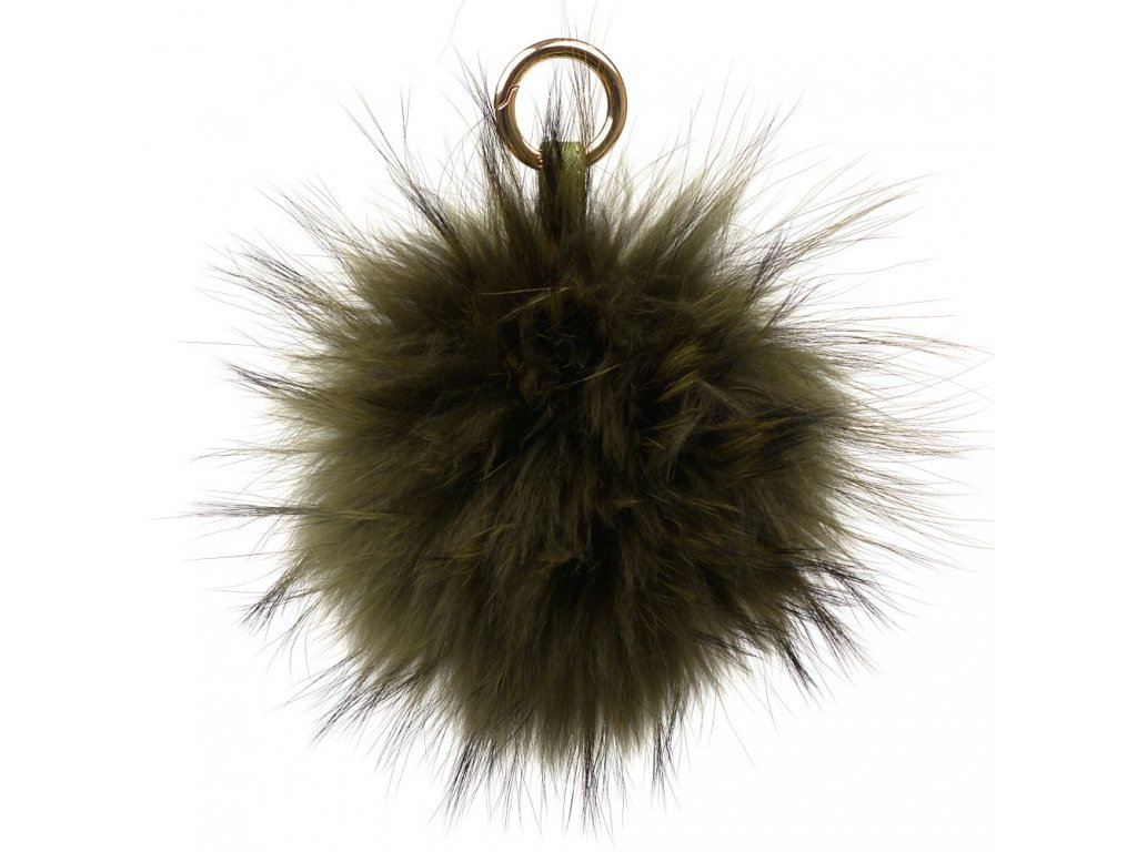 Kožešinový přívěsek na kabelku zelený