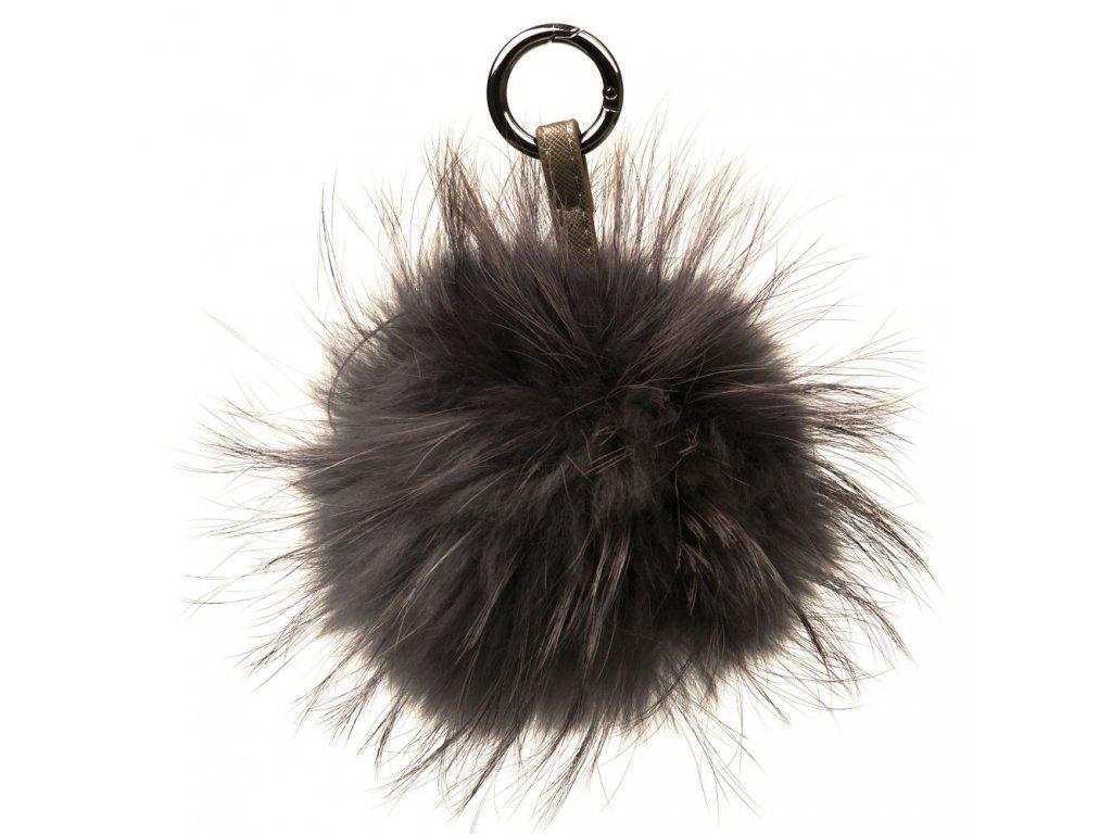 Kožešinový přívěsek na kabelku taupe