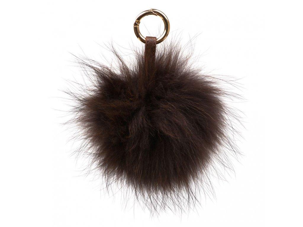 Kožešinový přívěsek na kabelku hnědý