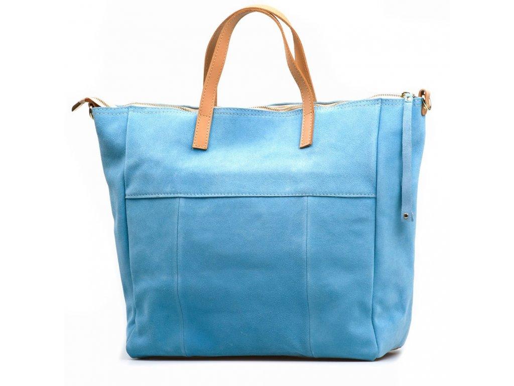 Kožená kabelka Iole azurově modrá