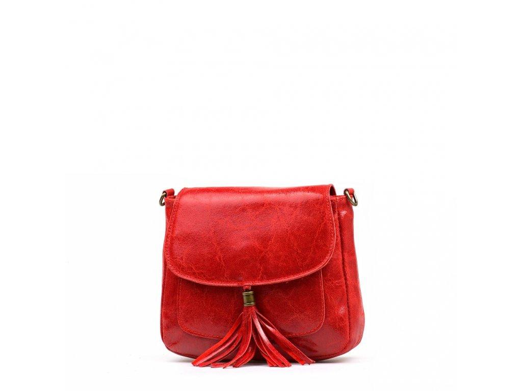 Kožená crossbody kabelka Nella červená