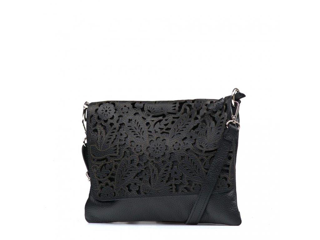 Kožená kabelka Melisa černá
