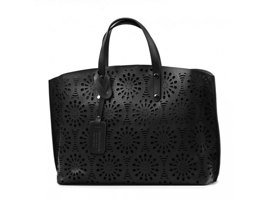 Kožená kabelka Viktoria černá