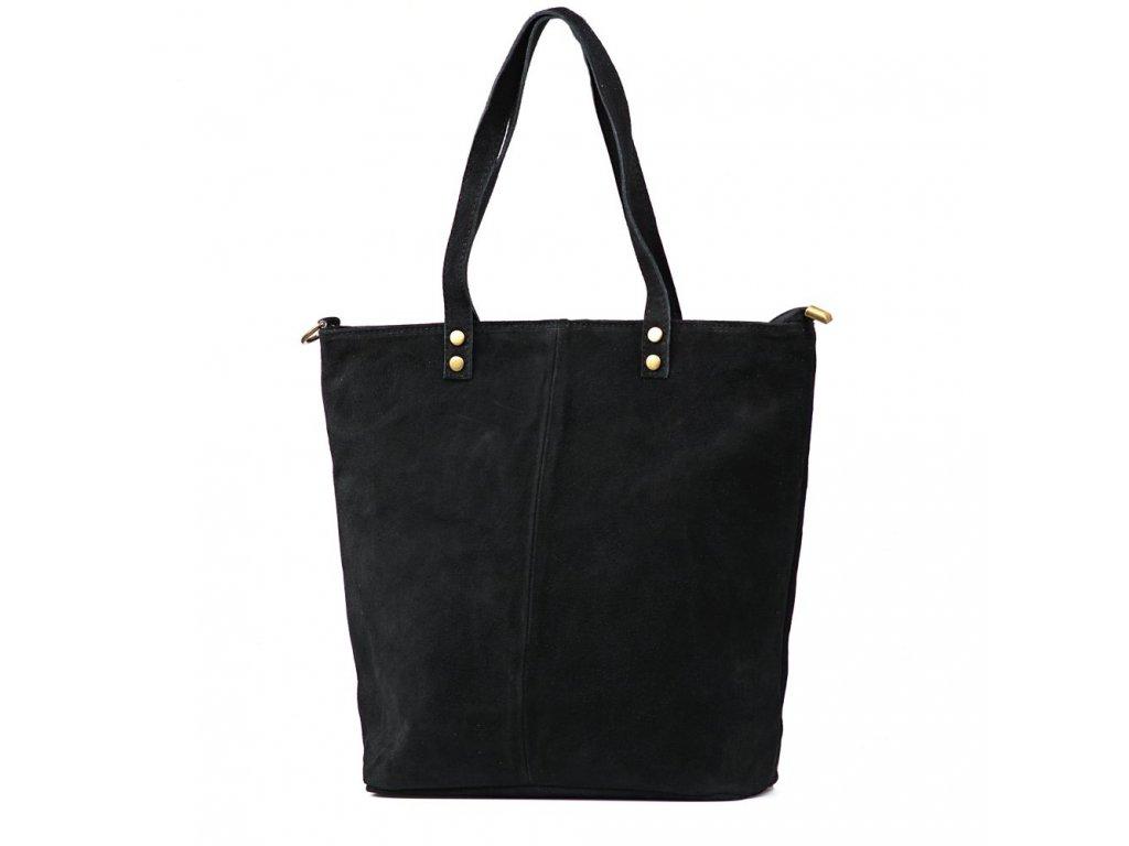 Kožená kabelka shopper Luna černá