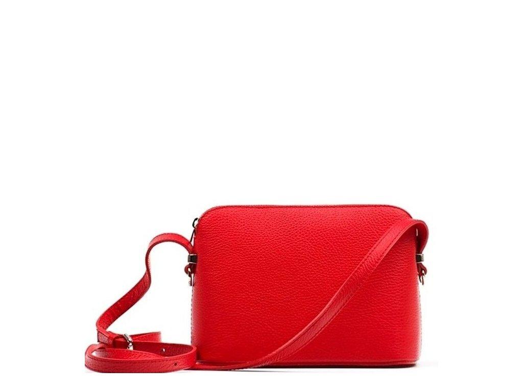 Kožená crossbody kabelka Violeta červená