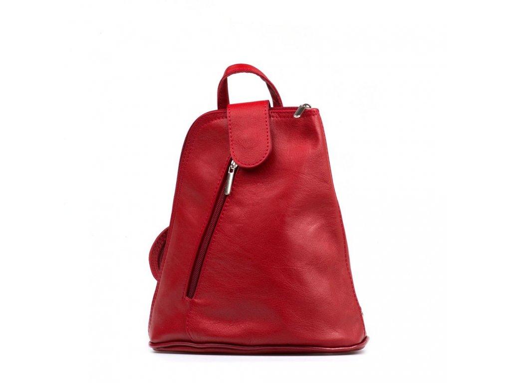 Kožený batůžek Zeudi červený