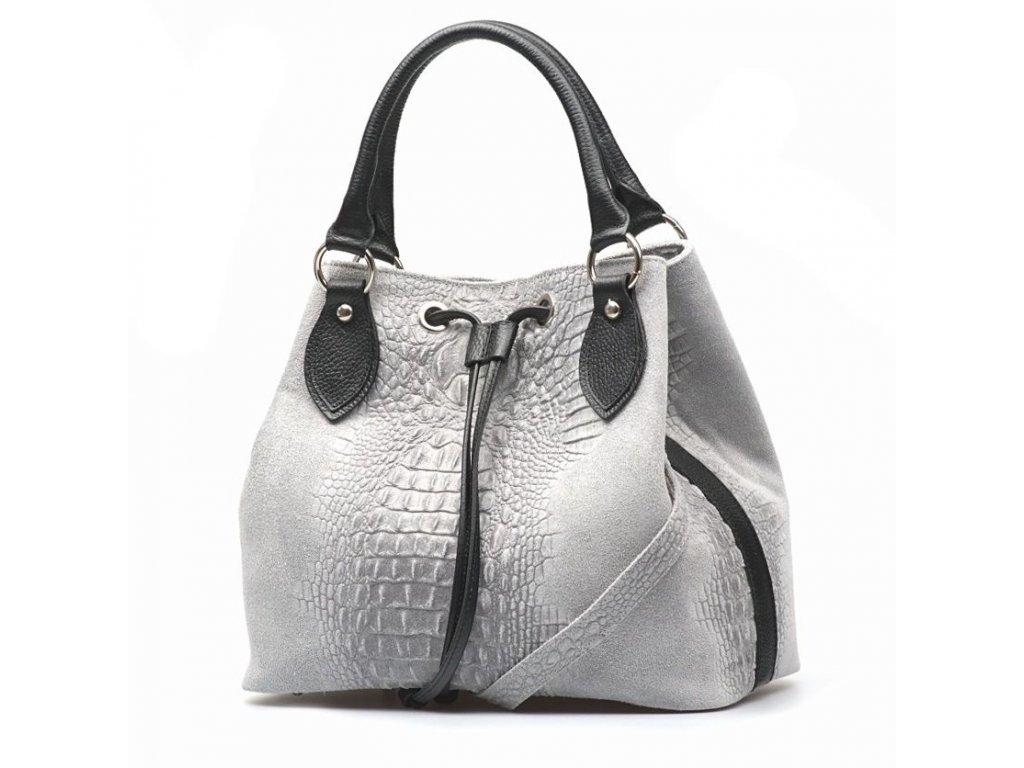 a2a56e65527 Kožená kabelka Flaminia šedá - Blaire shop