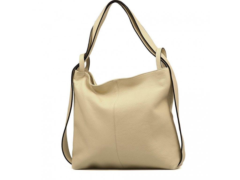 Kožená kabelka - batůžek Giada béžová