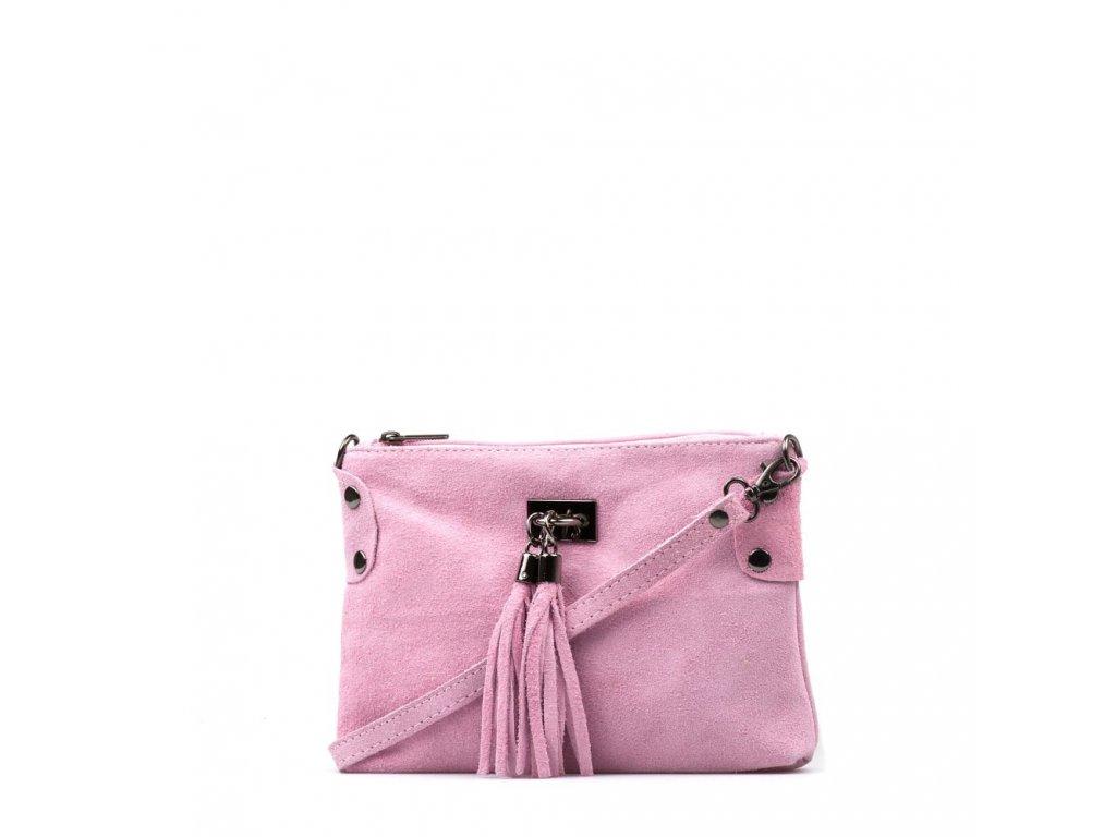 Kožená crossbody kabelka Nives růžová