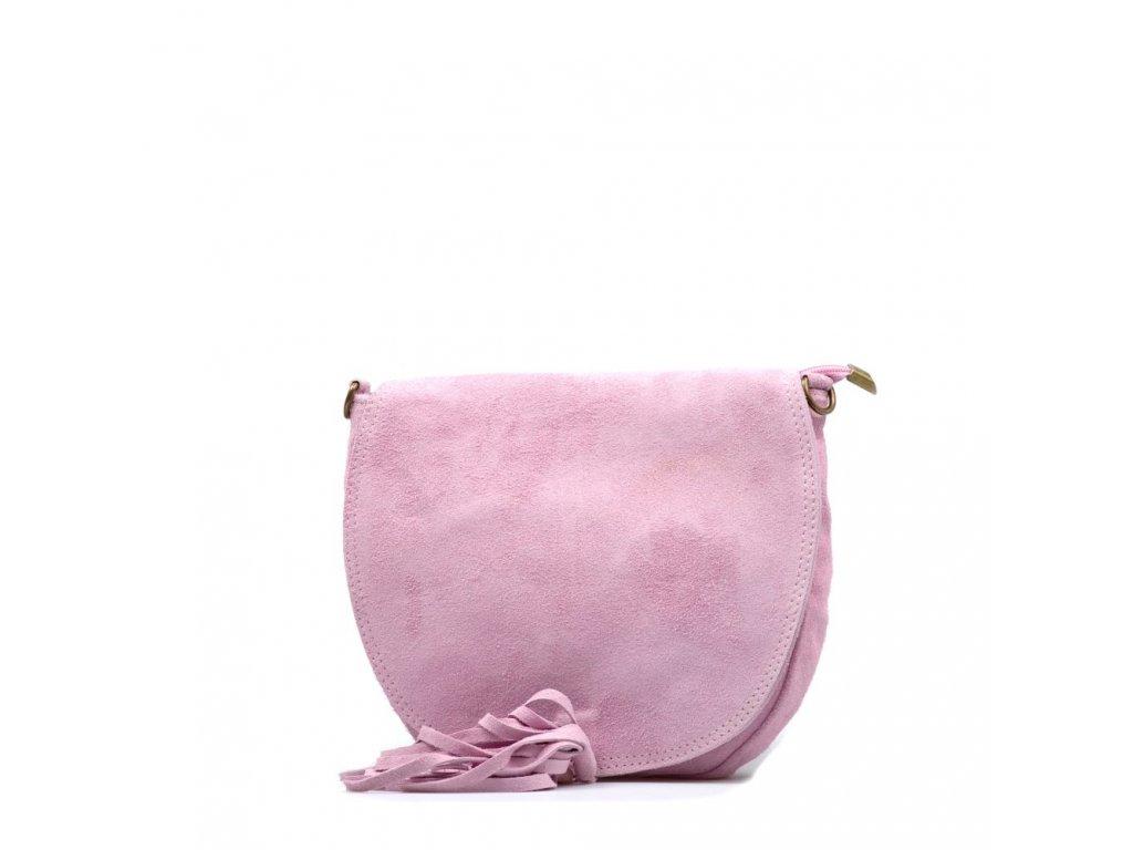 Kožená crossbody kabelka Mirea růžová