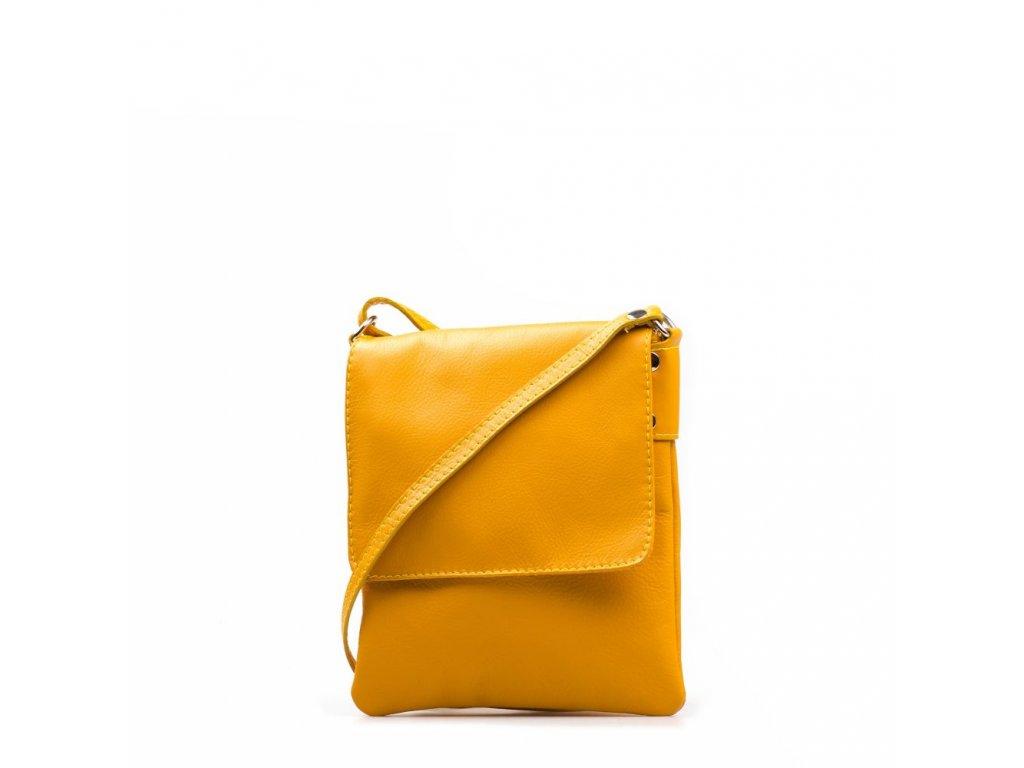 Kožená crossbody kabelka Selma žlutá
