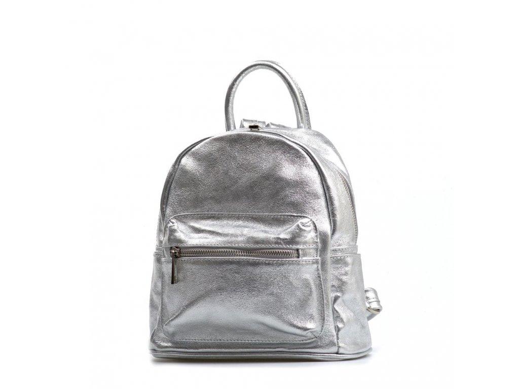 Kožený batůžek Kate stříbrný