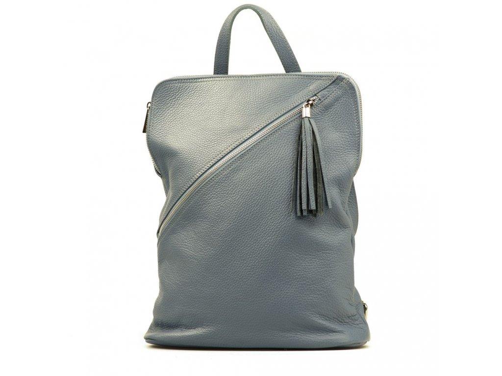 Kožený batůžek Zaira džínově modrý