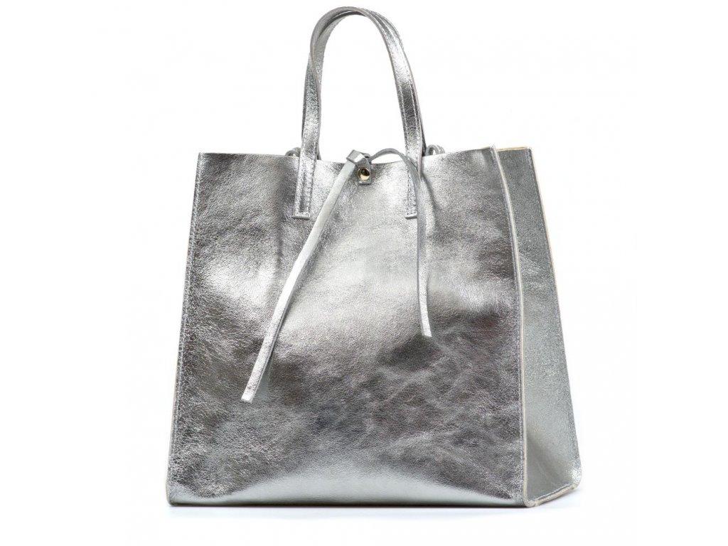 Kožená kabelka Belinda stříbrná