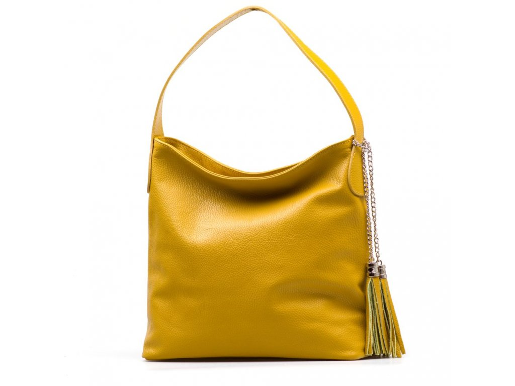Kožená kabelka Dilia hořčicově žlutá