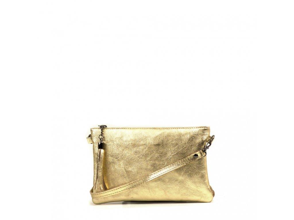 Kožená crossbody kabelka Enila zlatá