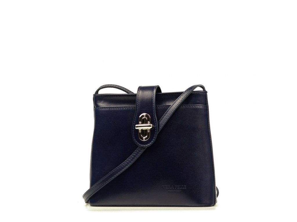 Kožená crossbody kabelka Claire tmavě modrá