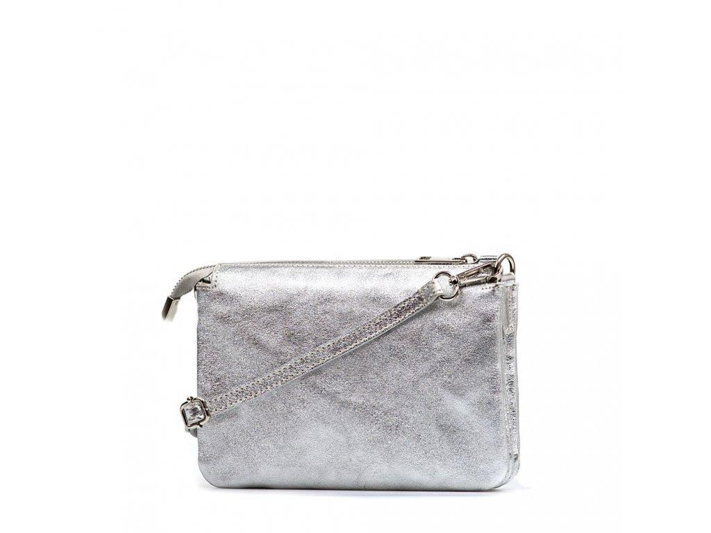 Kožená crossbody kabelka Peggy stříbrná - Blaire shop 903155b1e98