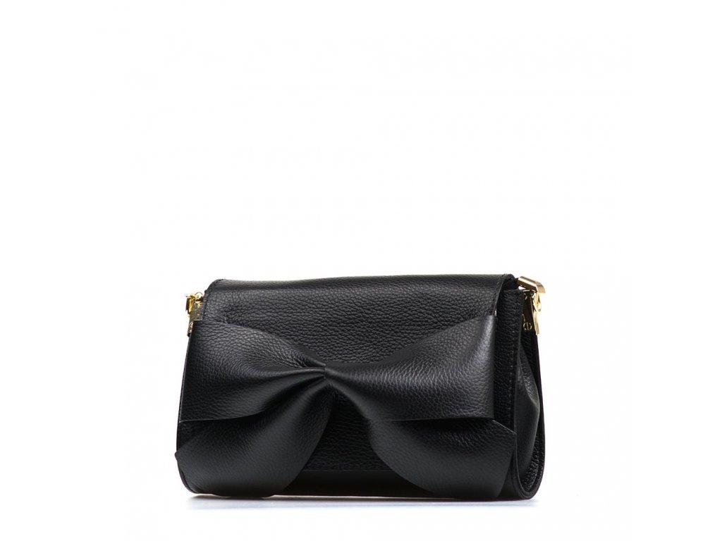 Kožená kabelka Bella černá s mašlí