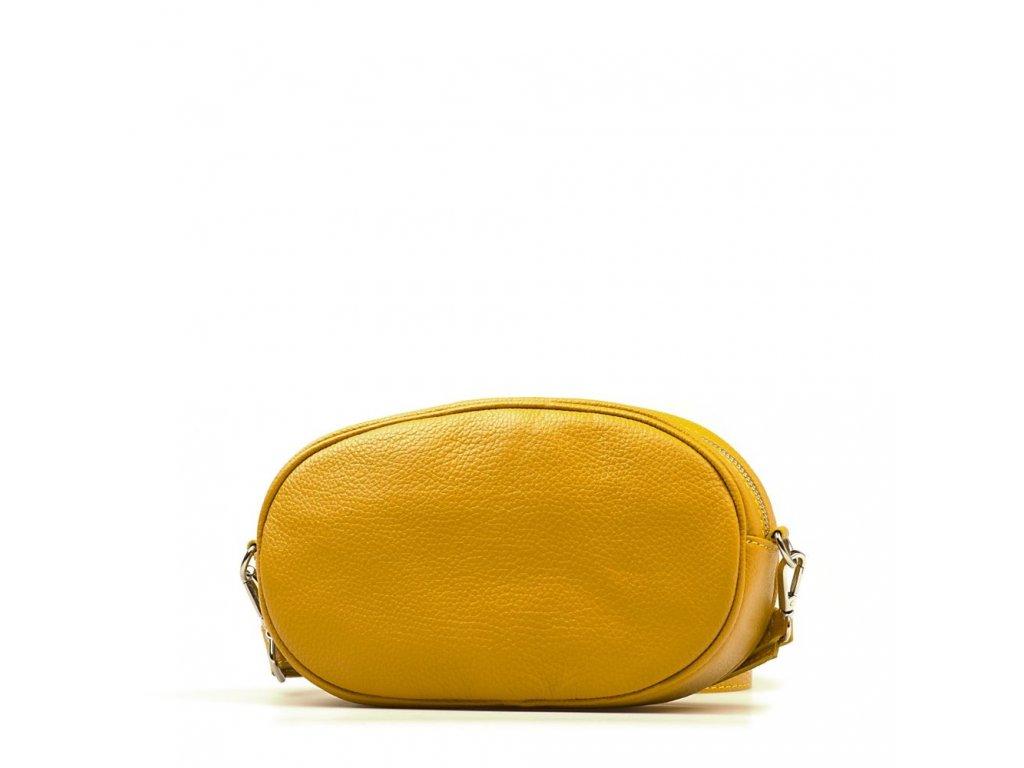 Kožená ledvinka - crossbody kabelka Michela hořčicově žlutá