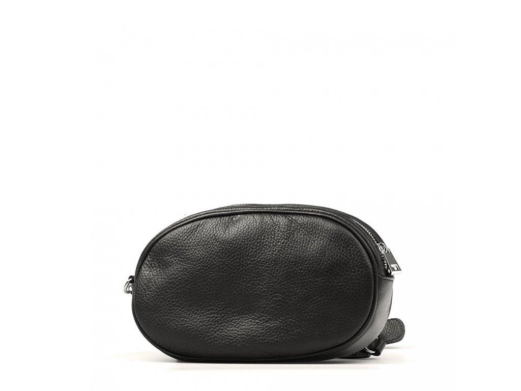 Kožená ledvinka - crossbody kabelka Michela černá