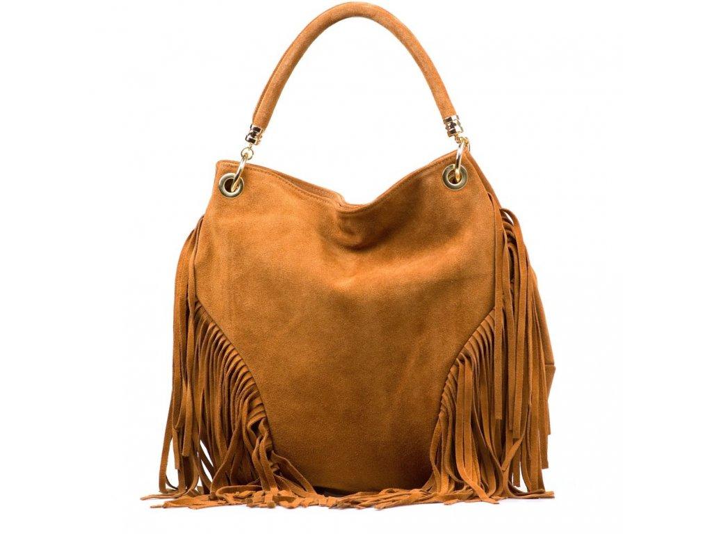 Kožená kabelka Margy se střapci koňaková