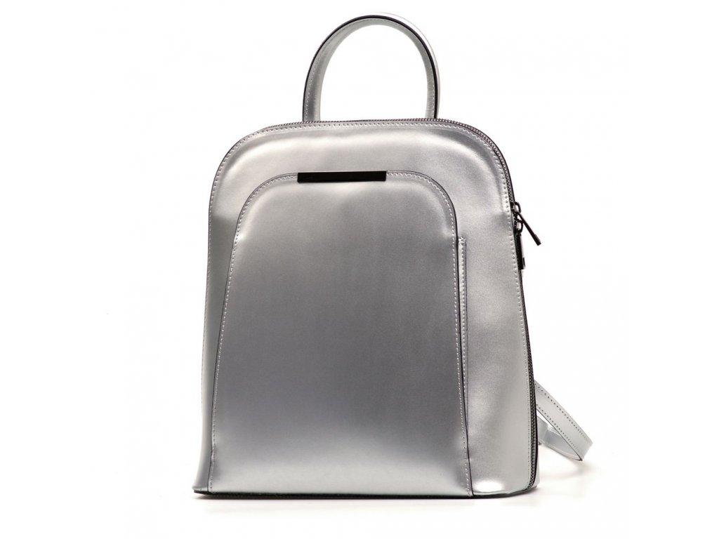 Kožený batůžek Ulma stříbrný