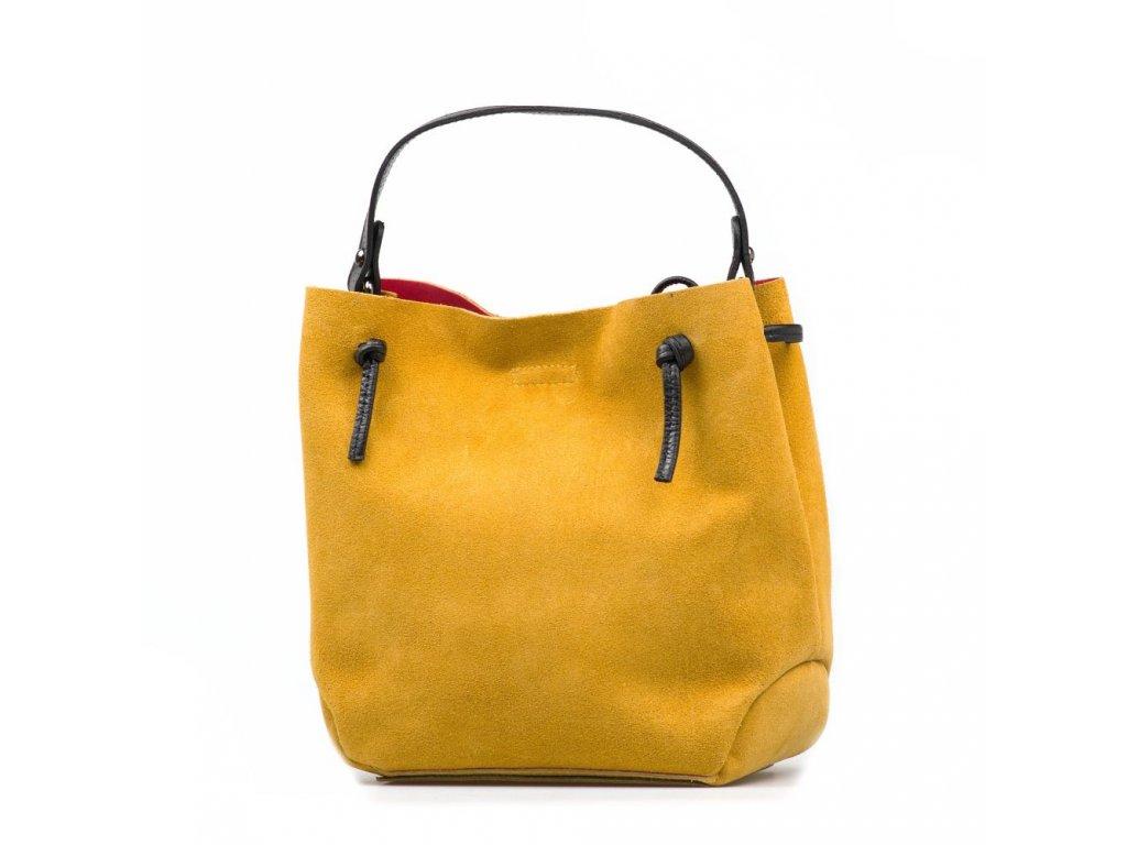Kožená kabelka Brigida žlutá s červeným interiérem