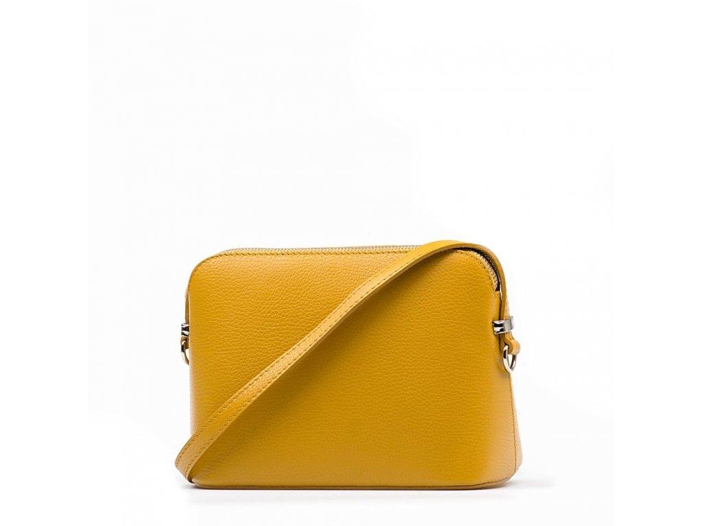 Kožená crossbody kabelka Violeta hořčicově žlutá
