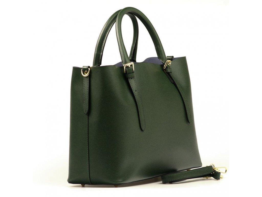 1dcb190d3e0 Kožená kabelka Emma s červenou kapsou zelená - Blaire shop