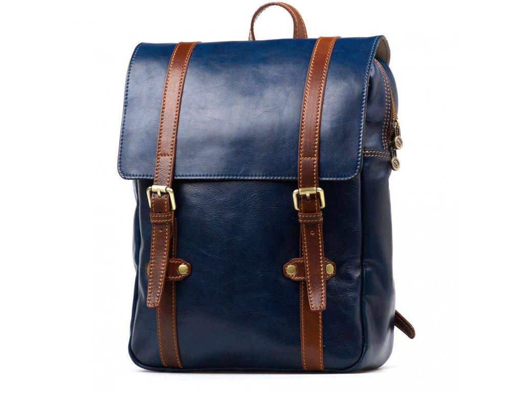 Pánský kožený batoh Zulio modro - hnědý
