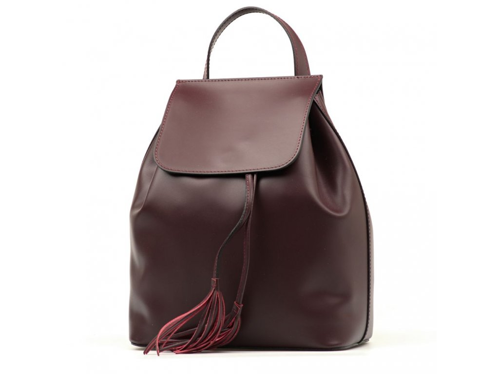 Kožený batůžek Celine bordó