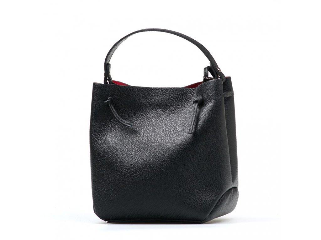Kožená kabelka Vilna černá s červeným interiérem