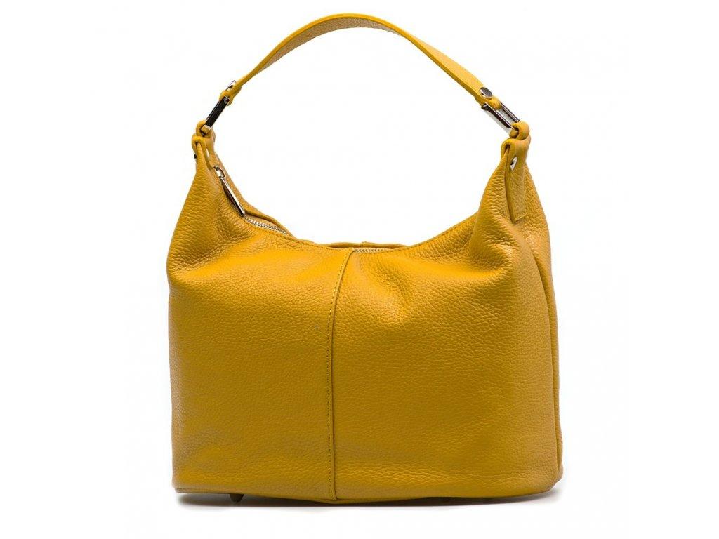 Kožená kabelka Febe hořčicově žlutá