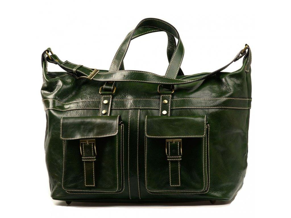 Kožená cestovní taška Erika zelená