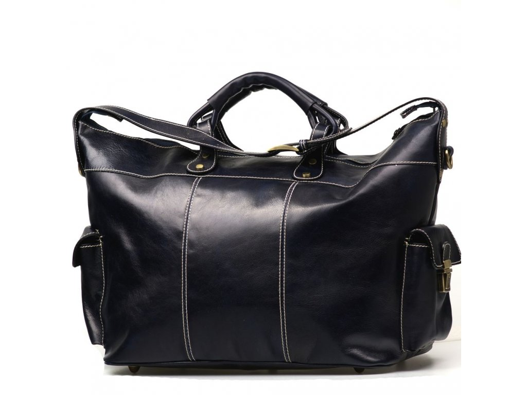 Kožená cestovní taška Bora tmavě modrá