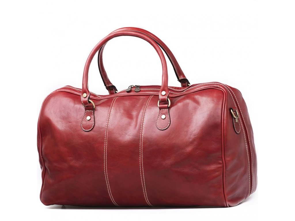 Kožená cestovní taška Luisa červená