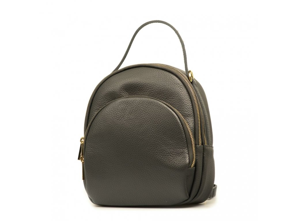 Kožená kabelka - batůžek Nina šedá