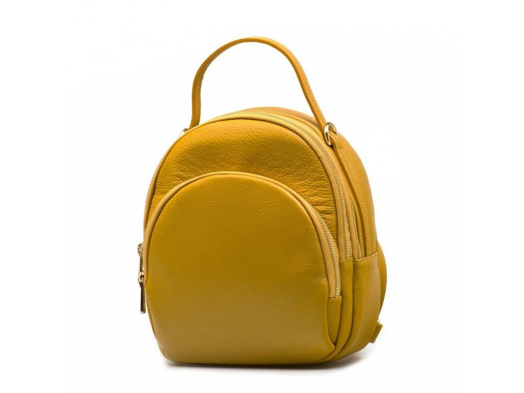 Kožená kabelka - batůžek Nina hořčicově žlutá