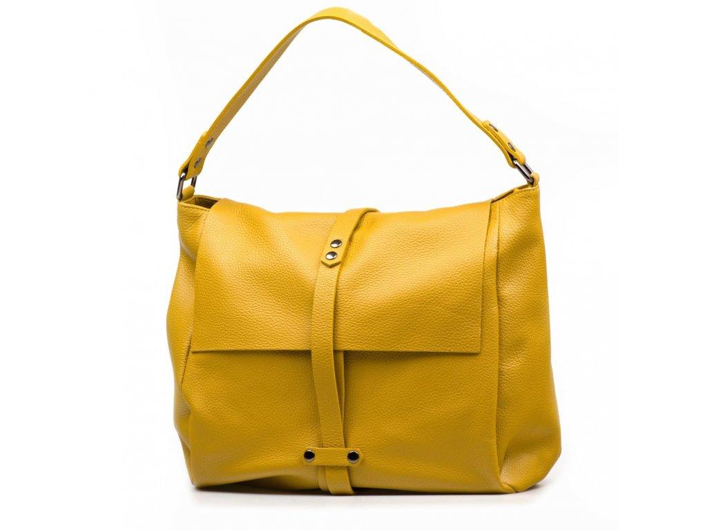 Kožená maxi kabelka Turia hořčicově žlutá