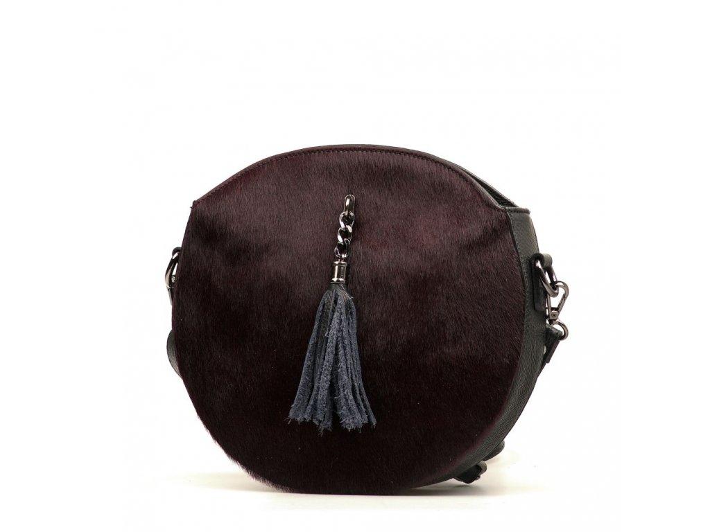 Kožená kabelka s kožešinou Kristy černo - hnědá